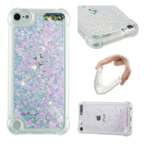 Dynamic Glitter Powder Heart Shaped Sequins TPU Shockproof Case for iPod Touch (2019) / Touch 6 / Touch 5 - Multi-color