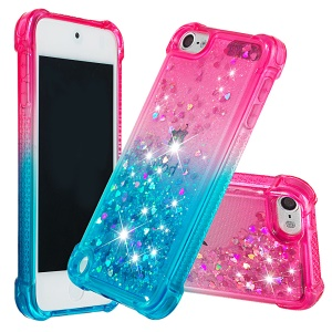 Gradient Glitter Powder Quicksand TPU Case for iPod Touch (2019) / Touch 6 / Touch 5 - Rose / Baby Blue