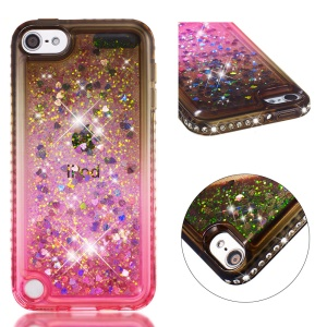 Rhinestone Decor Gradient Glitter Powder TPU Phone Shell for Pod Touch (2019) / 6 / 5 - Brown / Red