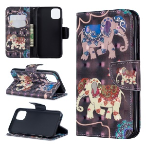 For iPhone 11 6.1 inch (2019) Pattern Printing PU Leather Wallet Cell Phone Case - Elephant