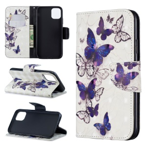 For iPhone 11 6.1 inch (2019) Pattern Printing PU Leather Wallet Cell Phone Case - Pretty Butterflies