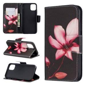 Pattern Printing Cross Texture Wallet Stand Flip Leather Case for iPhone (2019) 6.1-inch - Kapok