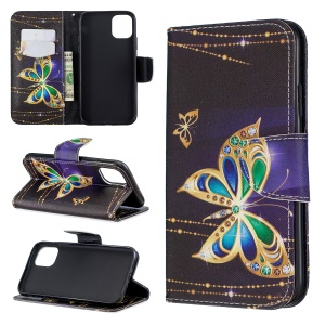 Pattern Printing Cross Texture Wallet Stand Flip Leather Case for iPhone (2019) 6.1-inch - Crystal Butterflies