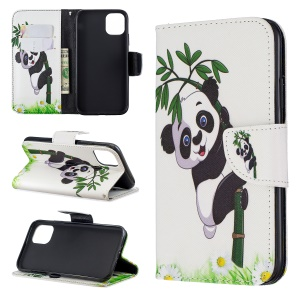 Pattern Printing Cross Texture Wallet Stand Flip Leather Case for iPhone (2019) 6.1-inch - Bamboo Panda