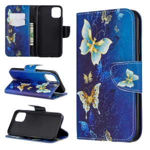 Pattern Printing Cross Texture Wallet Stand Flip Leather Case for iPhone (2019) 6.1-inch - Gold Butterflies