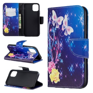 Pattern Printing Cross Texture Wallet Stand Flip Leather Case for iPhone (2019) 6.1-inch - White Butterflies and Flowers