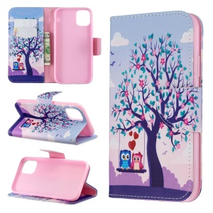Pattern Printing Cross Texture Wallet Stand Flip Leather Case for iPhone (2019) 6.1-inch - Couple Owls and Tree