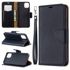 Litchi Style Leather Wallet Stand Phone Case for iPhone 11 Pro Max 6.5 inch (2019) - Black