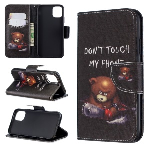Printing Style Leather Wallet Phone Covering Case for iPhone 11 6.1 inch (2019) - Brown Bear and Warning Words