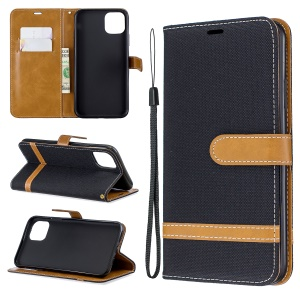 Jeans Cloth Wallet Stand Leather Cell Phone Shell for iPhone 11 Pro Max 6.5 inch (2019) - Black