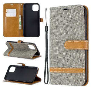 Jeans Cloth Wallet Stand Leather Cell Phone Shell for iPhone 11 Pro Max 6.5 inch (2019) - Grey