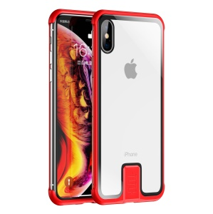 Leshield Series Pull Push Metal Frame+Glass Phone Shell Case for iPhone X / XS - Red