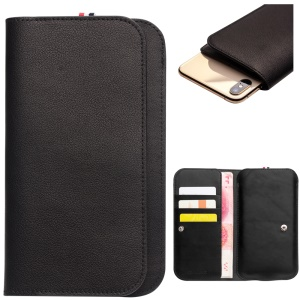 QIALINO Oil Wax Cowhide Leather Wallet Flip Phone Casing Bag for iPhone XR/XS Max/6 Plus/7 Plus/8 Plus - Black