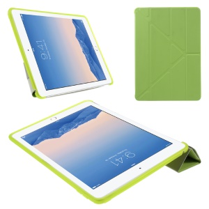 Origami Stand Leather & TPU Smart Cover for iPad Air 2 - Green