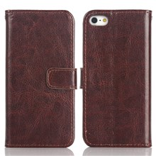 For iPhone SE 5s 5 Crazy Horse Wallet Stand Leather Phone Cover  - Coffee