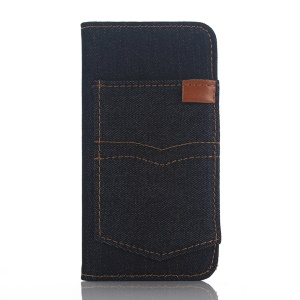 For iPhone SE 5s 5 Jeans Cloth Card Holder Stand Leather Case Cover - Black Blue