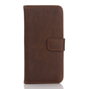 Retro Style Leather Wallet Flip Cover for iPhone SE/5s/5 - Coffee