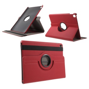 Cloth Skin Leather Cover with Swivel Stand for iPad Pro 9.7 Inch - Red