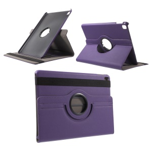 Cloth Skin Swivel Stand Leather Tablet Cover for iPad Pro 9.7 Inch - Purple