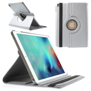 Litchi Texture Leather Rotary Stand Flip Cover for iPad Pro 9.7-inch - Grey