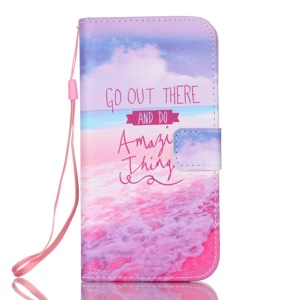 PU + TPU Leather Wallet Phone Case with Stand for Samsung Galaxy S7 edge G935 - Quote and Sea