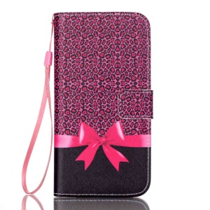 Strap Magnet Wallet Pu Leather Flip Phone Case for Samsung Galaxy S7 edge G935 - Leopard and Bowknot