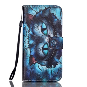 Illustration Pattern Leather Wallet Stand Phone Case Cover for Samsung Galaxy S7 edge G935 - Night Fury Cat