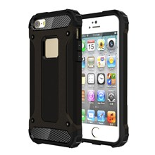 Armor Guard Plastic + TPU Hybrid Cover for iPhone SE/5s/5 - Black
