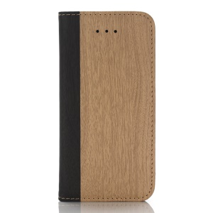 For iPhone SE 5s 5 Wood Grain Wallet Stand Leather Phone Case - Khaki
