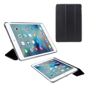 Tri-fold PU Leather and Back TPU Cover for iPad Mini 1/2/3 - Black