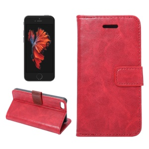 For iPhone SE 5s 5 Crazy Horse Wallet Stand Leather Cover - Red