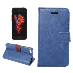 For iPhone SE 5s 5 Crazy Horse Wallet Stand Leather Phone Case - Blue