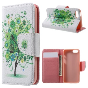 Leather Case Wallet Cover for iPhone SE/5s/5 - Green Flowers Tree and Bird