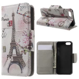 Magnetic Flip Leather Case for iPhone SE/5s/5 - Postcard Style Eiffel Tower