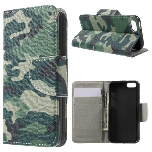 Wallet Stand Leather Case for iPhone SE/5s/5 - Camouflage Pattern