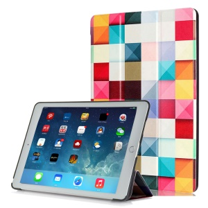 Tri-fold Stand Leather Smart Cover for iPad Pro 9.7 inch - Colorful Checks