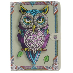 Wallet Stand Leather Smart Case for iPad Pro 9.7 inch - Vivid 3D Effect Owl