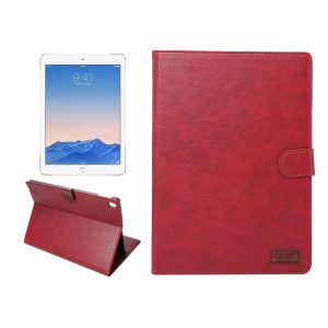 Crazy Horse Folio Stand Smart Leather Wallet Case for iPad Pro 9.7 - Red