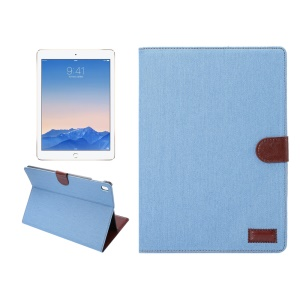 Jeans Cloth Skin Wallet Smart Leather Case for iPad Pro 9.7 - Light Blue