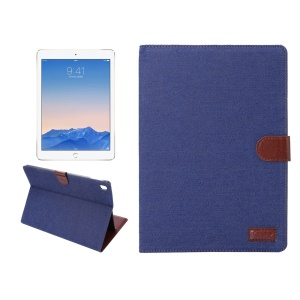 Jeans Cloth Skin Smart Leather Wallet Cover for iPad Pro 9.7 - Dark Blue