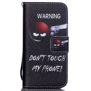 Patterned Wallet Leather Folio Shell for iPhone SE/5s/5 - Do Not Touch My Phone