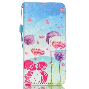 PU Leather Wallet Stand Shell for iPod Touch 6/Touch 5 - Lovers and Dandelions