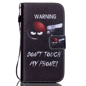For Samsung Galaxy S4 IV I9500 I9505 Patterned Leather Flip Shell - Do Not Touch My Phone