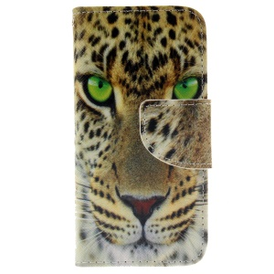 Leather Wallet Stand Case for iPhone SE/5s/5 - Tiger