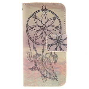 Pattern Printing Leather Wallet Cover for iPod Touch 6/5 - Feather Dreamcatcher
