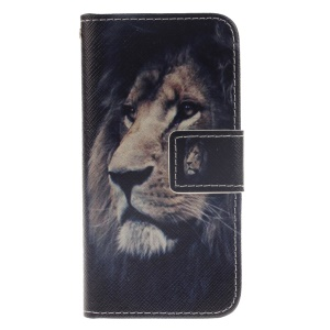 Pattern Printing Leather Magnetic Flip Case for iPod Touch 6/5 - Lion