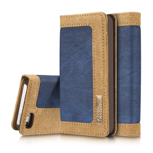 CASEME Canvas Skin Leather Case Stand Card Holder for iPhone SE/5s/5 - Blue