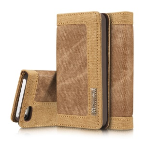 CASEME Canvas Skin Leather Case Wallet Stand para iPhone SE / 5s / 5 - Castanho