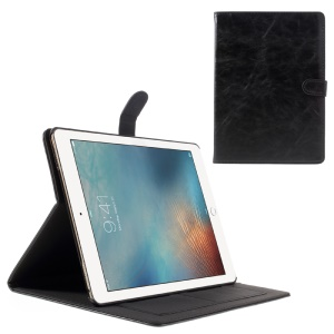 Retro Style Leather Case Stand Card Holder for iPod Pro 9.7 - Black
