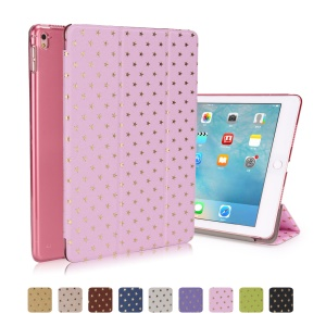 Stars Pattern Tri-fold Smart Leather Shell for iPad Pro 9.7 inch - Pink